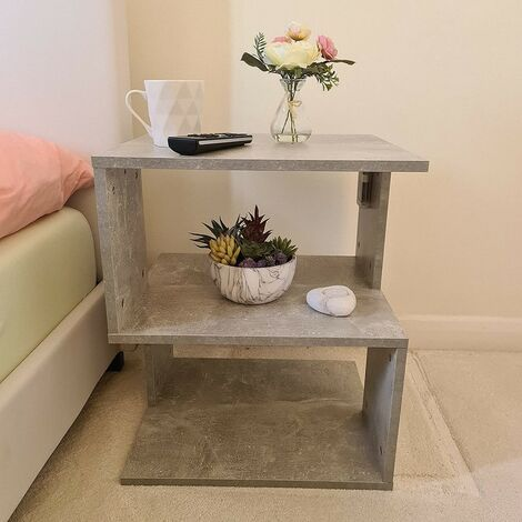 """main image of """"Modern Grey Bedside Tables Night Stand Cabinet Storage Comes With Led Light Bedroom Furniture"""""""