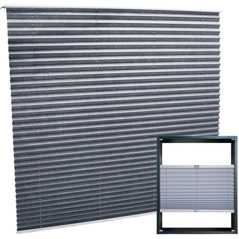 Modern grey-coloured Pleated Blinds 100x100cm Plissé Drop Blinds Window Blinds Temporary Blinds