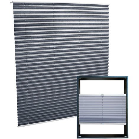 Modern grey-coloured Pleated Blinds 50x100cm Plissé Drop Blinds Window Blinds Temporary Blinds