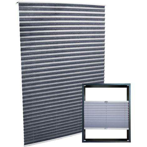 Modern grey-coloured Pleated Blinds 55x150cm Plissé Drop Blinds Window Blinds Temporary Blinds