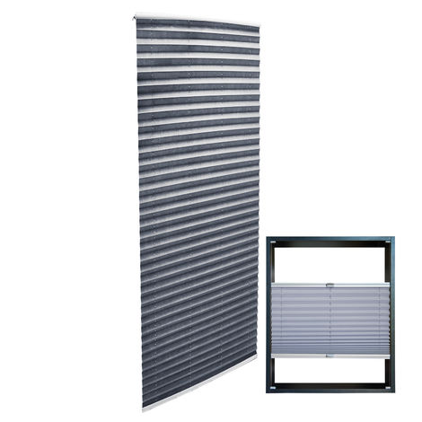 Modern grey-coloured Pleated Blinds 60x200cm Plissé Drop Blinds Window Blinds Temporary Blinds