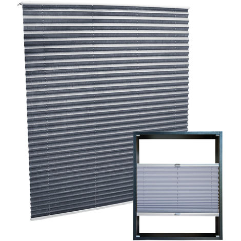 Modern grey-coloured Pleated Blinds 65x100cm Plissé Drop Blinds Window Blinds Temporary Blinds