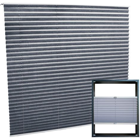 Modern grey-coloured Pleated Blinds 80x100cm Plissé Drop Blinds Window Blinds Temporary Blinds