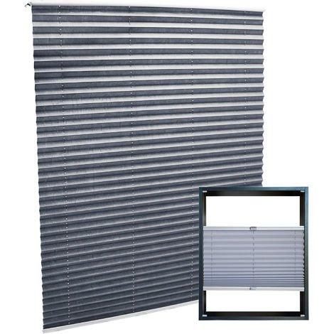 Modern grey-coloured Pleated Blinds 90x150cm Plissé Drop Blinds Window Blinds Temporary Blinds
