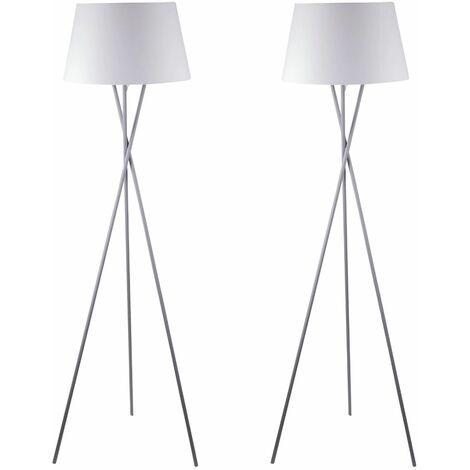Modern Grey Coppper or Chrome Twist Tripod Floor Black Grey White Fabric Shade