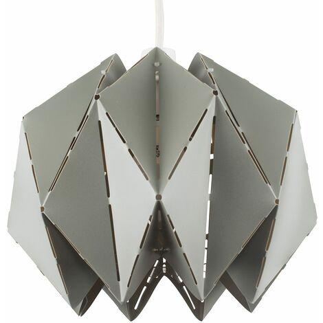Grey Geometric Sphere Ceiling Pendant Light Shade + 10W LED Gls Bulb Warm White