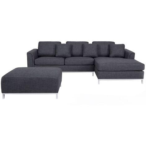 Modern Grey Linen Fabric Couch Corner Sofa with Ottoman Left Hand Oslo