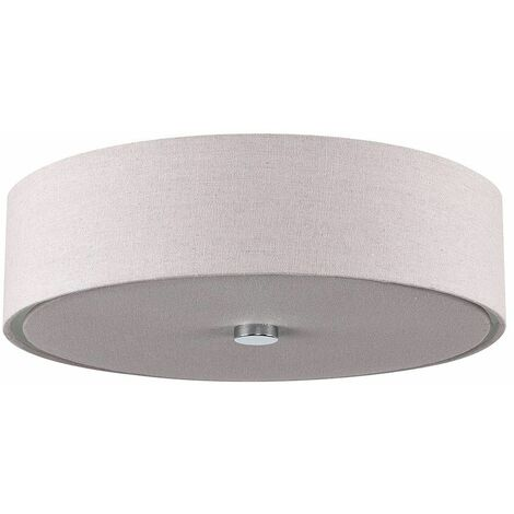Modern Grey Linen Shade 3 Way Chrome Ceiling Light