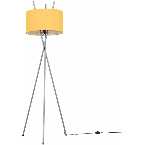 Modern Grey Metal Crossover Design Tripod Floor Lamp with a Mustard Cylinder Shade