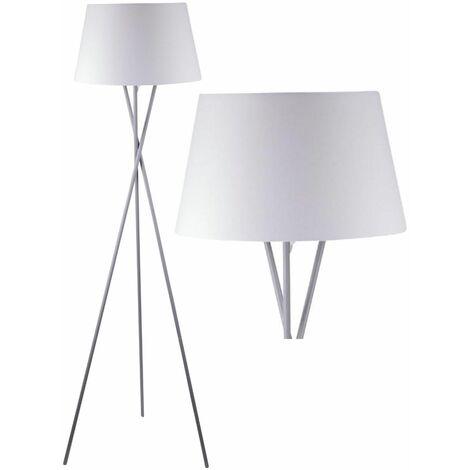 Modern Grey Tripod Floor Lamp Standard Light with Grey White or Black Shade