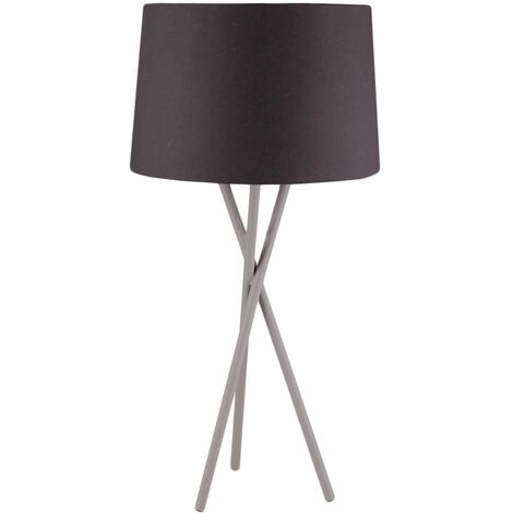Modern Grey Tripod Table Lamp Bedside Light with Fabric Shade