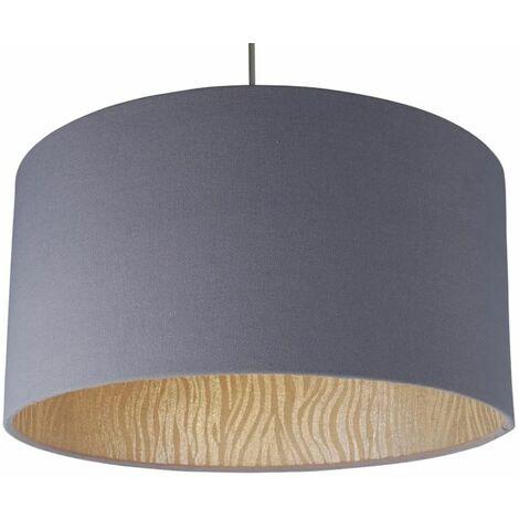 Modern Grey & Zebra Print 40cm Drum Easy Fit Ceiling Light Shade Bedroom NEW