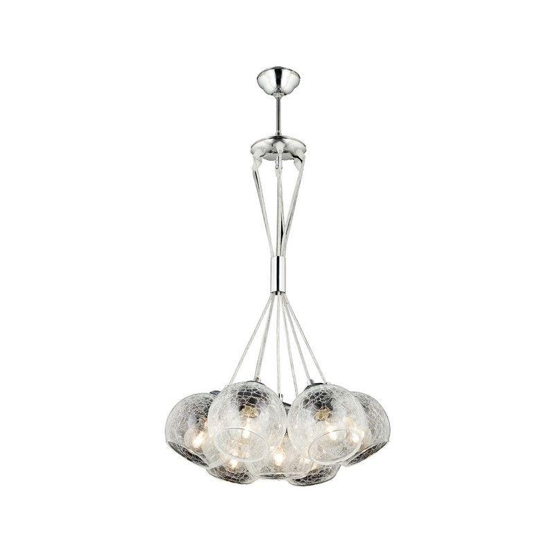 Homemania - Modern Haengelampe - 7 Lichter Kronleuchter - Deckenleuchte - Chrom, Durchsichtig aus Metall, Glas, 100 x 3 x 60 cm, 7 x E27, 60W