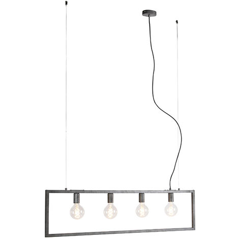 Modern hanging lamp antique silver 4-light - Simple Cage