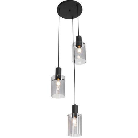Modern hanging lamp black with smoke glass 3-light - Vidra