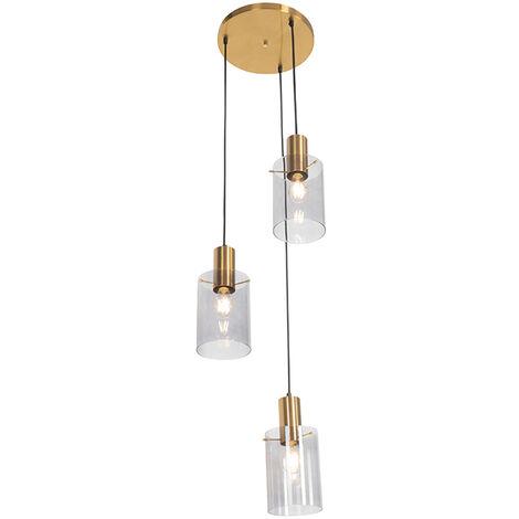 Modern hanging lamp brass with smoke glass 3-light - Vidra