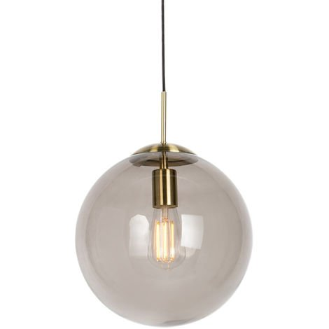 Modern hanging lamp brass with smoke glass 50 cm - Ball