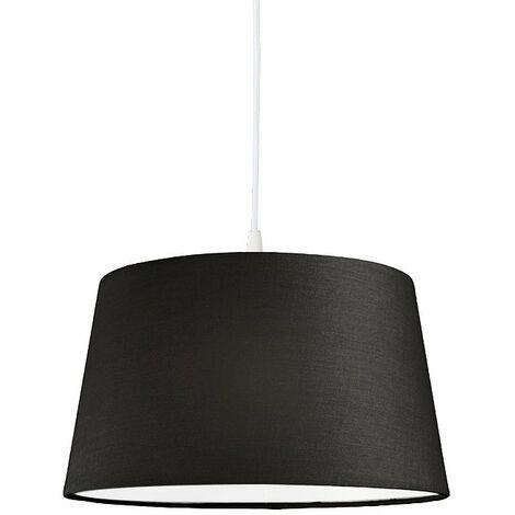 Modern hanging lamp white with black shade 45 cm - Pendant