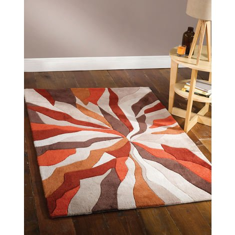 Modern Heavy Weight High Quality Handtufted Thick Soft Rug in Orange