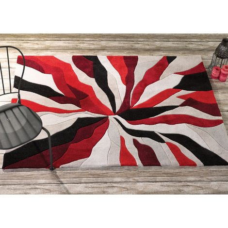 Modern Heavy Weight High Quality Handtufted Thick Soft Rug in Red