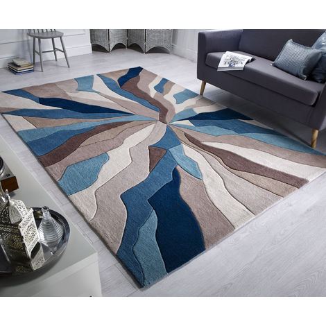 Modern Heavy Weight High Quality Handtufted Thick Soft Rug in Teal