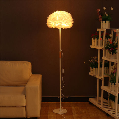 Modern Height Adjustable Floor Lamp Brushed Steel Adjustable White Feather Shade For Living Room Reading Bedroom Office With 2.4G Remote On / Off Switch Online + Bulb E27 Home Decor