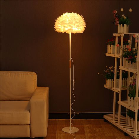 Modern Height Adjustable Floor Lamp Brushed Steel Adjustable White Feather Shade For Living Room Reading Bedroom Office With 2.4G Remote On / Off Switch Online + Bulb E27 Home Decor Hasaki
