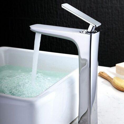 Modern high sink faucet in solid brass