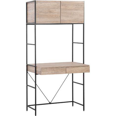 Modern Home Office Desk 2 Drawers Top Cabinet Study Workstation Light Wood Harrow