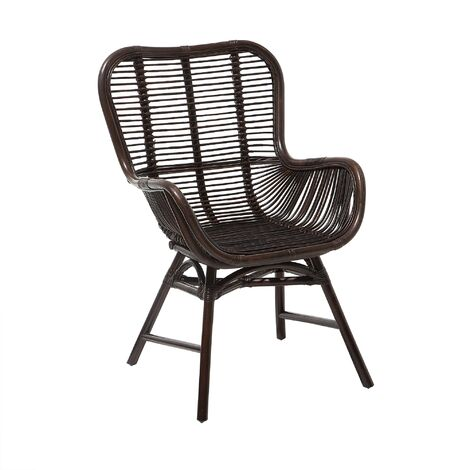 Modern Indoor Accent Chair Brown Rattan Side Dining Living Room Togo