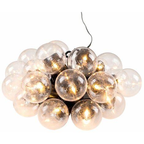 Modern Indoor Outdoor 20X Clear Globe Festoon Chain String Lights Lighting - Black