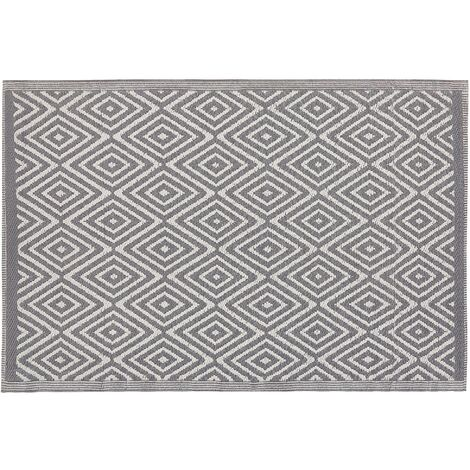 Modern Indoor Outdoor Area Rug Grey Diamond Pattern Geometric 120 x 180 cm Sikar