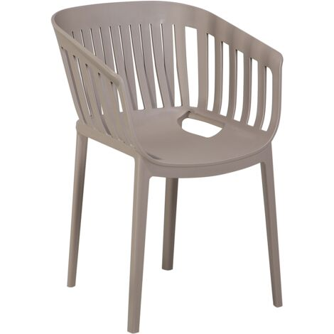 Modern Indoor Outdoor Dining Chair Synthetic Stackable Taupe Beige Dallas