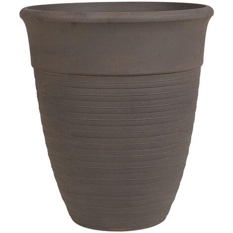 Modern Indoor Outdoor Plant Pot All-Weather Stone Mixture Brown ø43 cm Katalima
