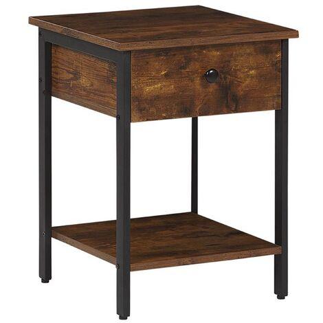 Modern Industrial 1 Drawer Shelf Living Room End Side Dark Wood Black Frame Vester