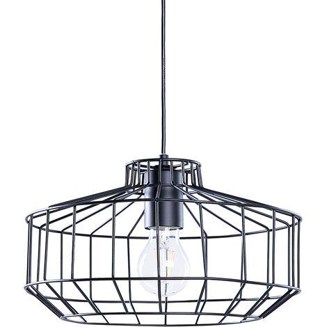 Modern Industrial Ceiling Light Pendant Lamp Black Metal Cage Shade Round Wabash