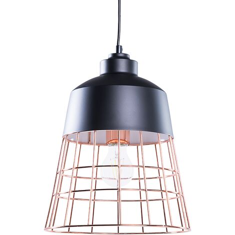 Modern Industrial Ceiling Light Pendant Lamp Black Round Cage Shade Monte
