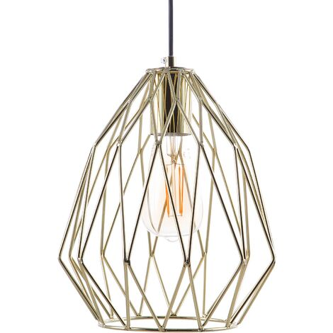 Modern Industrial Ceiling Light Pendant Lamp Open Cage Gold Metal Shade Magra