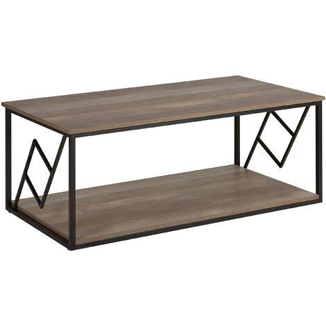 Modern Industrial Coffee Table Metalwork Dark Wood Finish Metal Frame Forres