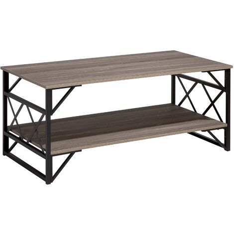Modern Industrial Coffee Table Taupe Wood Top Black Metal Base with Shelf Bolton