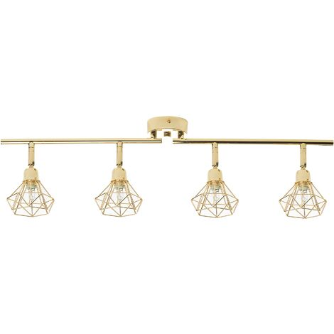 Modern Industrial Geometric Diamond Ceiling Lamp Track Lighting Gold Erma