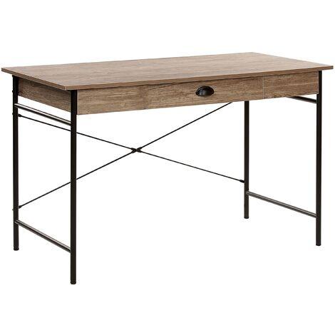 Modern Industrial Home Office Desk 1 Drawer Dark Wood Top Black Metal Legs Casco