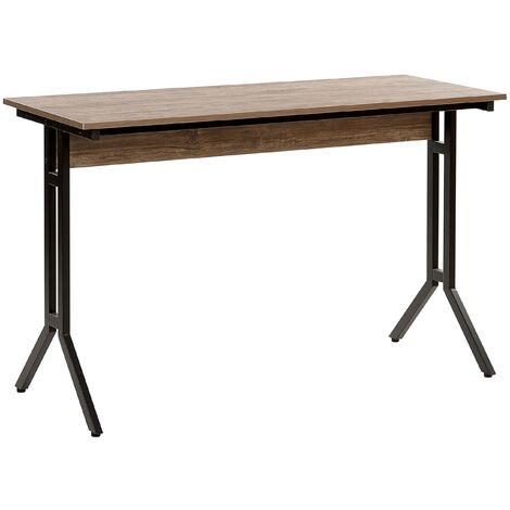 Modern Industrial Home Office Desk Dark Wood Top Black Metal Legs Creek