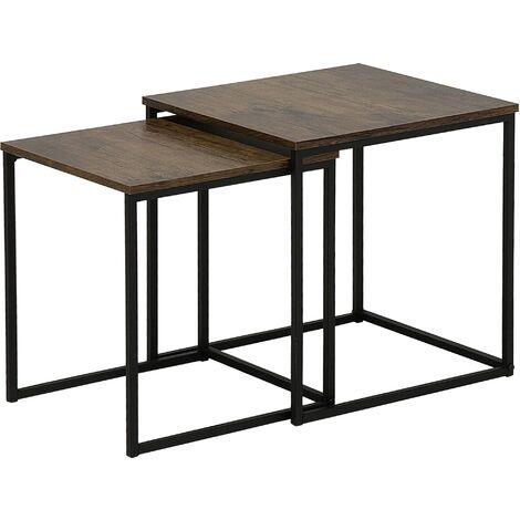 Modern Industrial Nest of Tables 2-Piece End Tables Metal Frame Dark Wood Denny