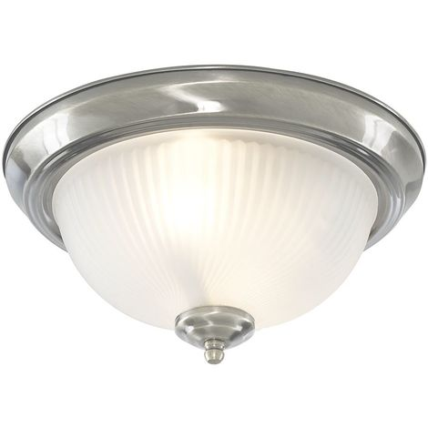 Modern IP44 Bathroom Flush Ceiling Light in Satin Silver with Frost Ribbed Glass Shade