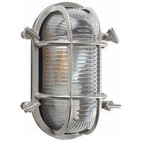 Modern IP64 Rated Cross-Cased Metal Outdoor Bulkhead Wall Light
