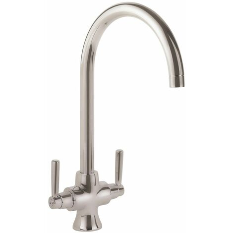 Modern Kitchen Sink Dual Twin Lever Mono Modern Mixer Tap Swivel Spout Brushed