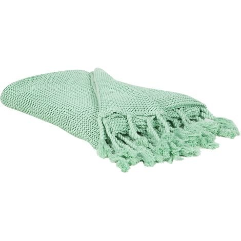 Modern Knitted Diagonal Stitch Cotton Cosy Oversized Throw Blanket Mint Green Nazilli
