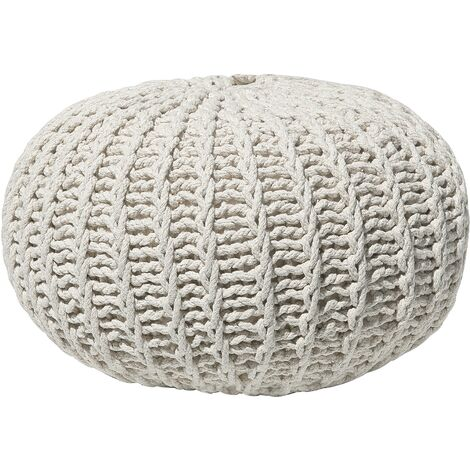 Modern Knitted Round Pouffe Ottoman Cotton Beige 50 x 35 cm Conrad II