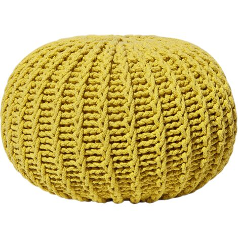 Modern Knitted Round Pouffe Ottoman Cotton Yellow 50 x 35 cm Conrad II